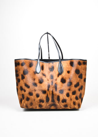 Black and Brown Rochas Cheetah Print Pony Hair Leather Tote Bag Frontview
