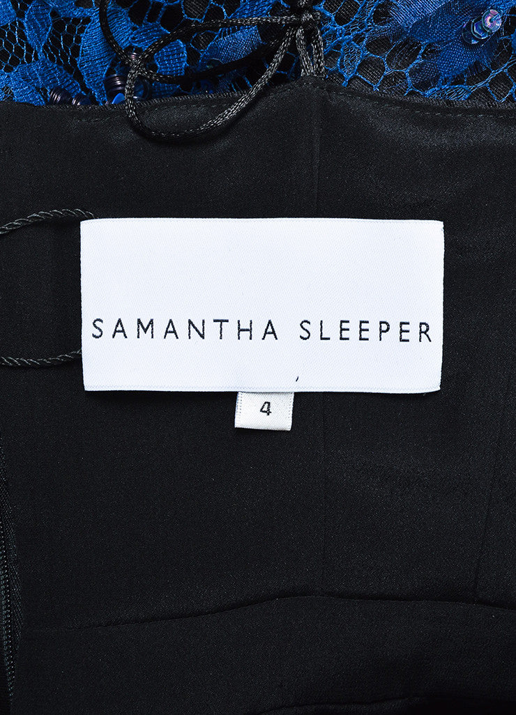 Samantha Sleeper Black and Blue Sequin Lace Spaghetti Strap Dress