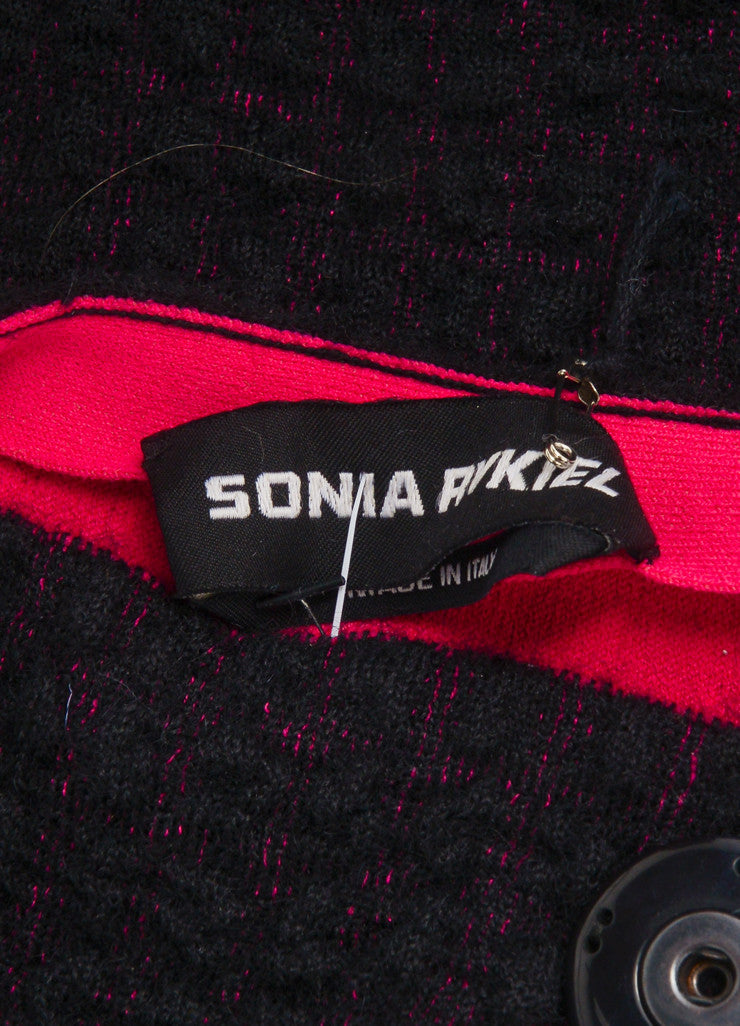 "Sonia Rykiel New With Tags Black and Pink Waffle Knit ""Double-Face"" Long Sleeve Jacket Brand"