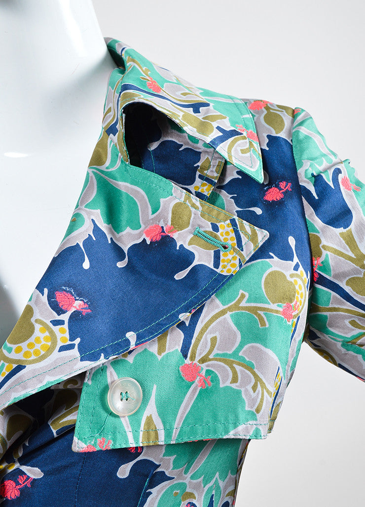 Green, Blue, and Pink Stella McCartney Silk Blend Printed Shirt Dress Detail