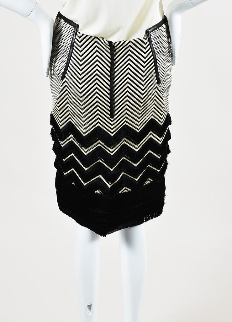 Black and White Tom Ford Leather Trim Mixed Weave Fringed Pencil Skirt Backview