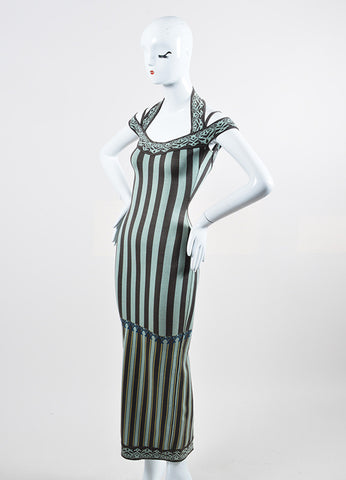 Mint Green and Grey Alaia Stretch Cotton Knit Striped Halter Long Dress Sideview