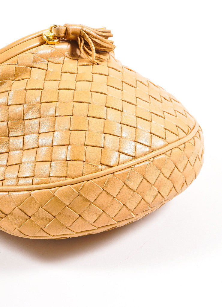 Bottega Veneta Tan Intrecciato Woven Leather Small Flap Cross Body Bag Bottom View