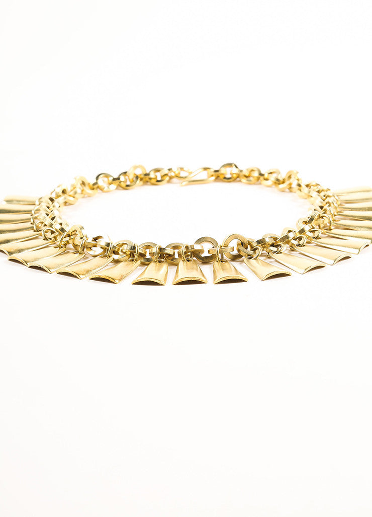 Vintage Gold Toned Dangle Bib Necklace Sideview