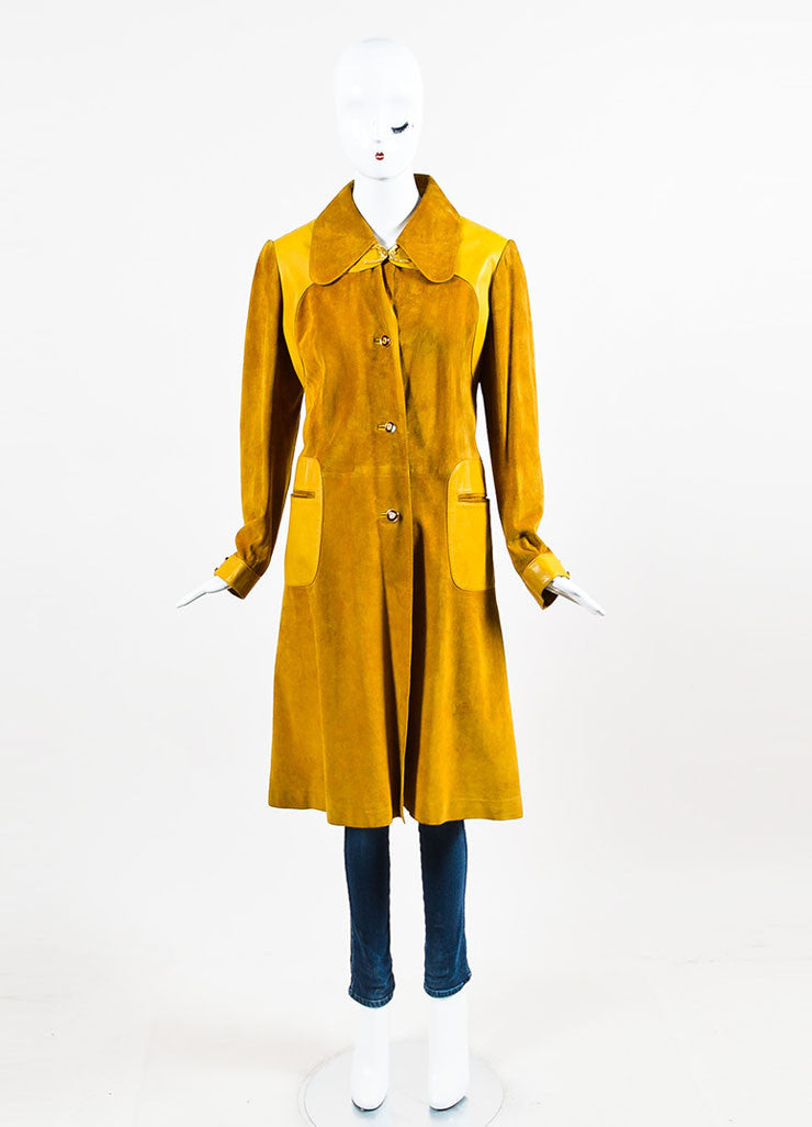 Gucci Yellow Suede Leather Trim Horseshoe Hardware Long Jacket Frontview 2