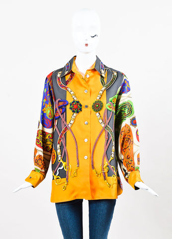 Hermes Multicolor Floral and Sangle Silk Printed Button Up Blouse Frontview