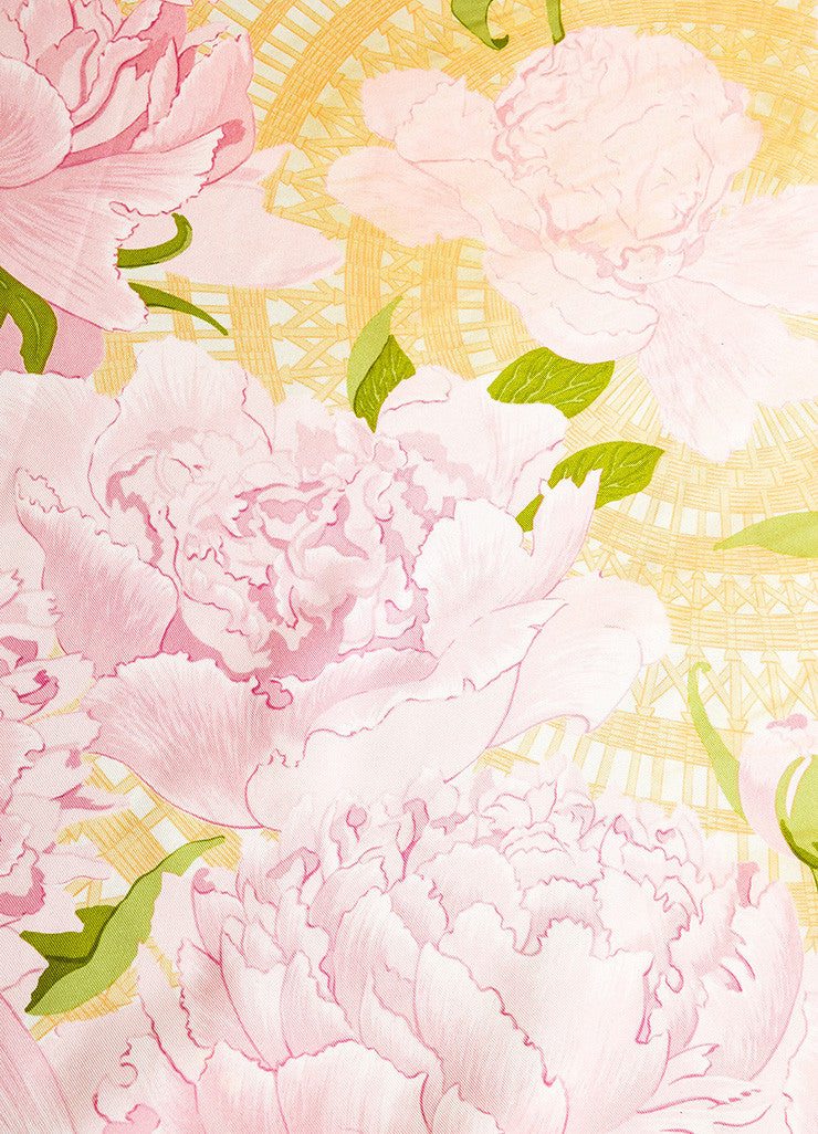 "Pink and Green Hermes Floral Print ""Les Pivoines"" Scarf Detail"