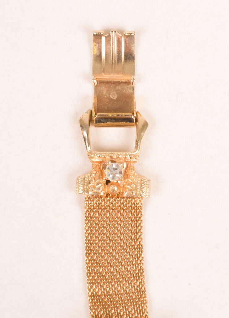 Hobe Gold Toned Metal Mesh Buckle and Rhinestone Accent Bracelet Brand