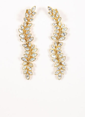 Kenneth Lane Gold Toned and Clear Rhinestone Leaf Statement Earrings Frontview