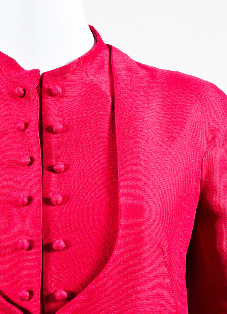 Pink Valentino Faux Buttoned Overlay Long Sleeve Split Peplum Jacket Detail