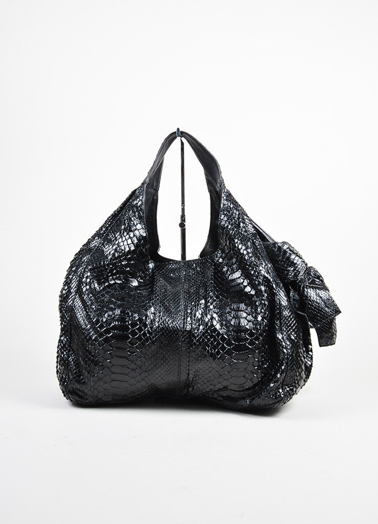 "Valentino Garavani Black Python Dual Handle Slouchy ""Nuage Bow"" Bag Frontview"