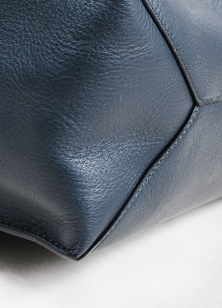 "Forest Green and Charcoal Grey Valentino ""Shopping Bag""  Leather Tote Detail"