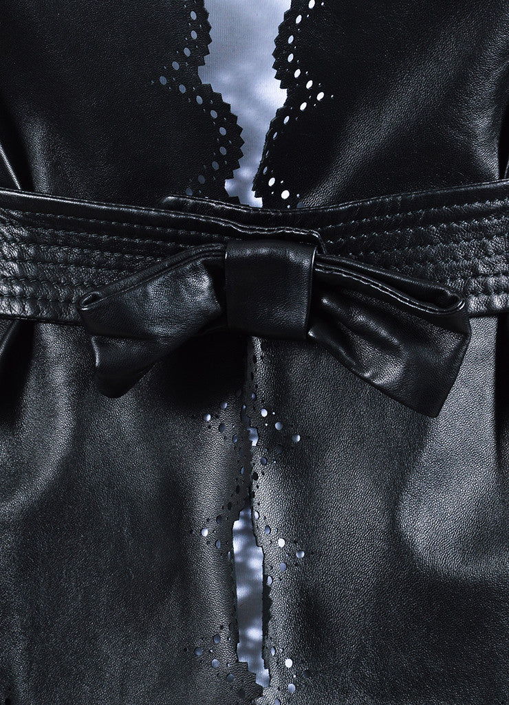 Valentino Black Leather Bow Cropped Cut Out Scalloped Jacket Detail