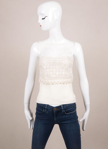 Valentino White Knit Beaded Embellished Sheer Mesh Top Frontview