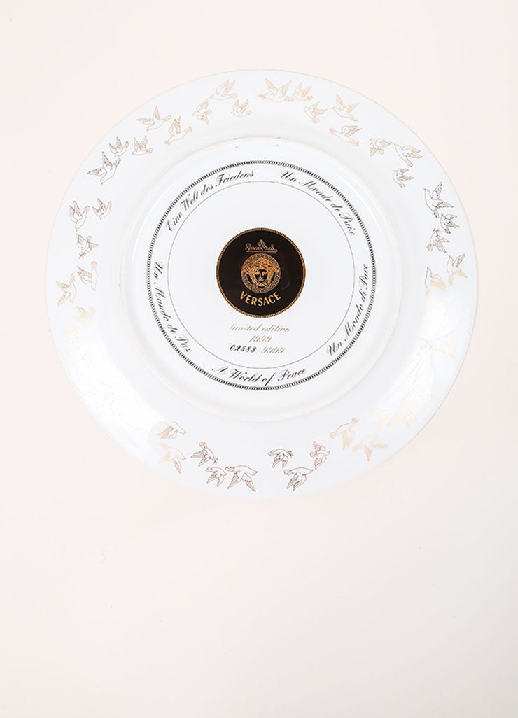 "Versace Rosenthal ""A World of Peace"" 12 inch Limited Edition Service Plate Bottom View"