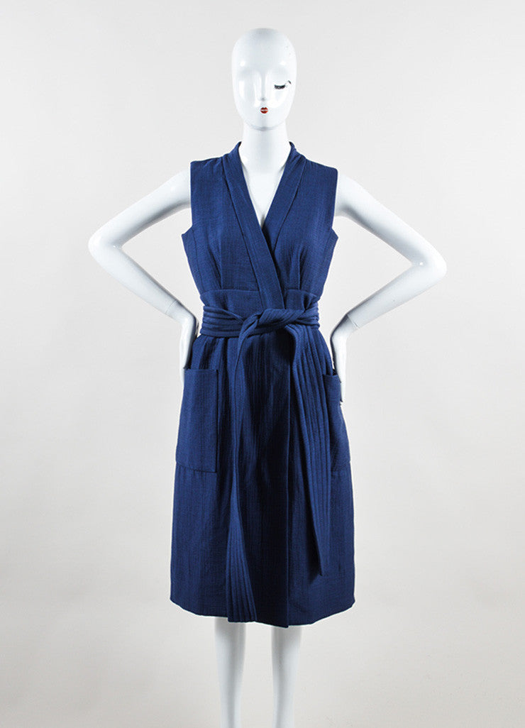 Victoria Beckham Blue Cotton Wool Matelasse Belted Sleeveless Dress Frontview