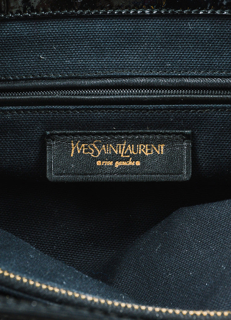 "Yves Saint Laurent Black Patent Leather Grommet Detail Embossed ""Sac Palma"" Tote Bag Brand"