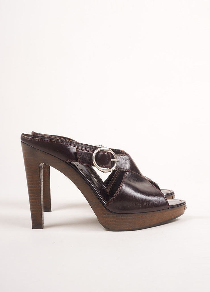 Yves Saint Laurent Brown Leather Wooden Platform Mule Sandals Sideview