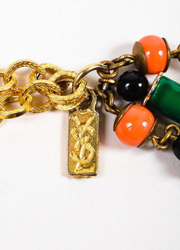 Yves Saint Laurent Gold Toned, Green, and Coral Beaded Drop Chandelier Strand Necklace Brand
