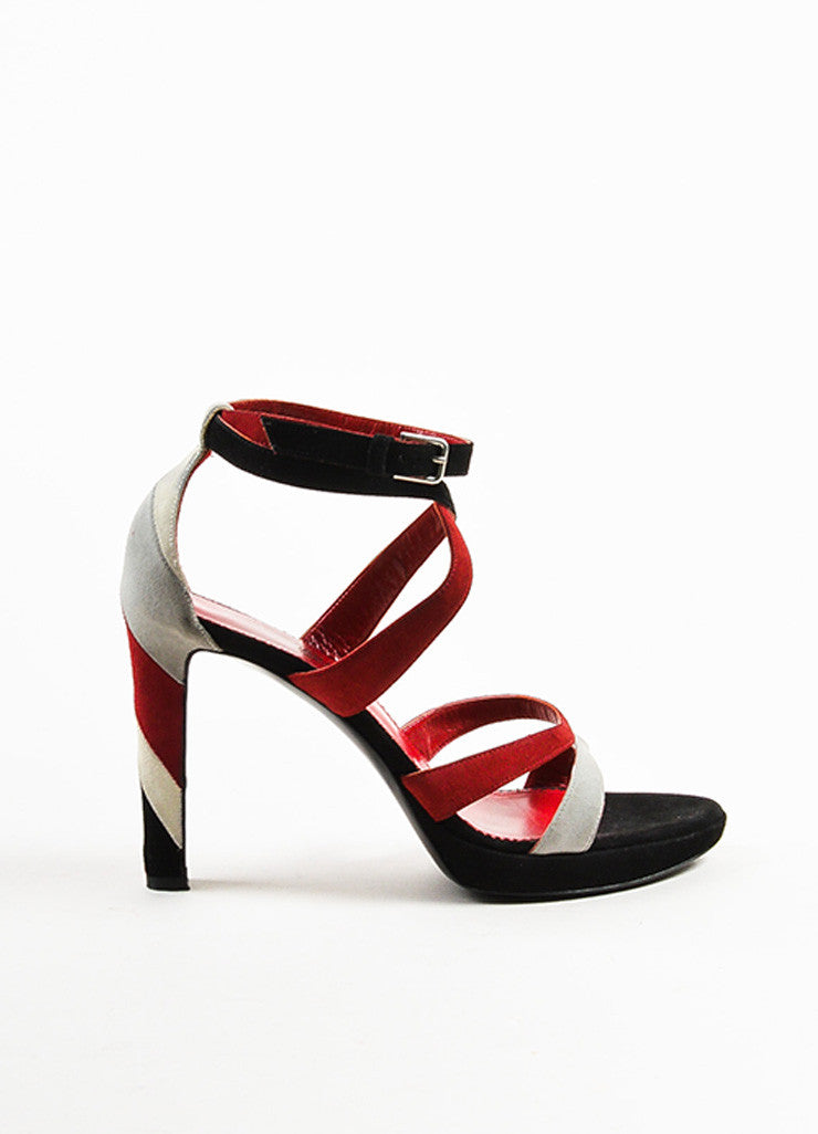 Yves Saint Laurent Dark Red and Black Suede Striped Strappy Platform Sandals Sideview