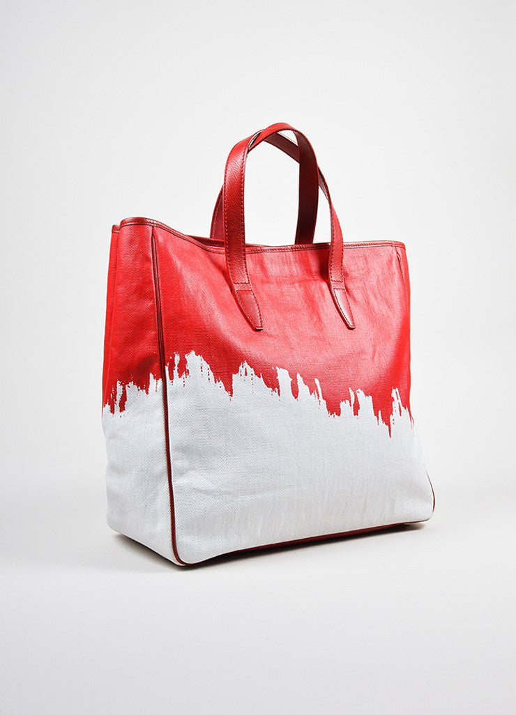 "Red and White Yves Saint Laurent Rive Gauche Canvas ""Raspail"" Painted Tote Bag Sideview"