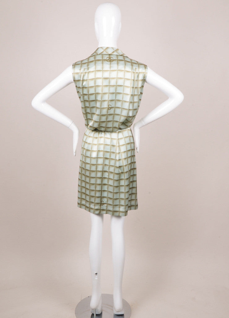 Chanel Light Blue and Light Green Silk Square Print Belted Shirt Dress Backview