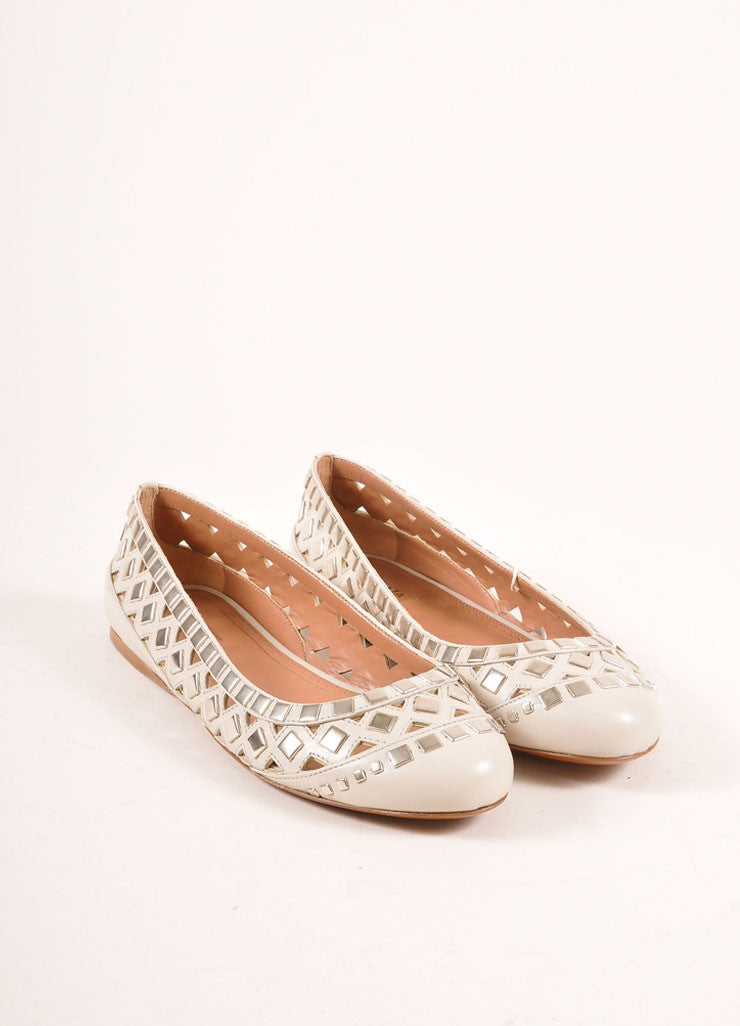 Alaia New In Box Cream and Silver Toned Flat Studded Cut Out Leather Flats Frontview