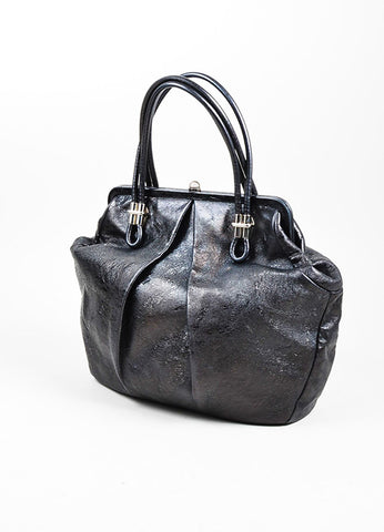 "Black Alexander McQueen Distressed Leather Pleated ""Frame"" Bag Sideview"