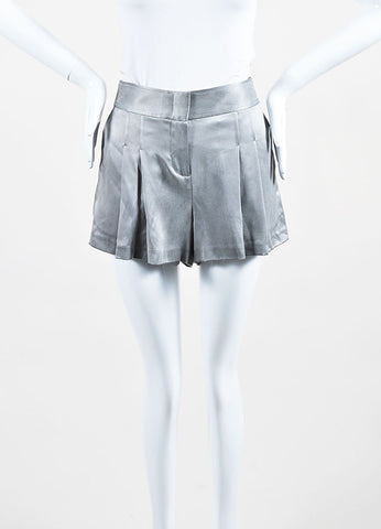 Grey Alexander Wang Silk Pleated Zipped Shorts Frontview