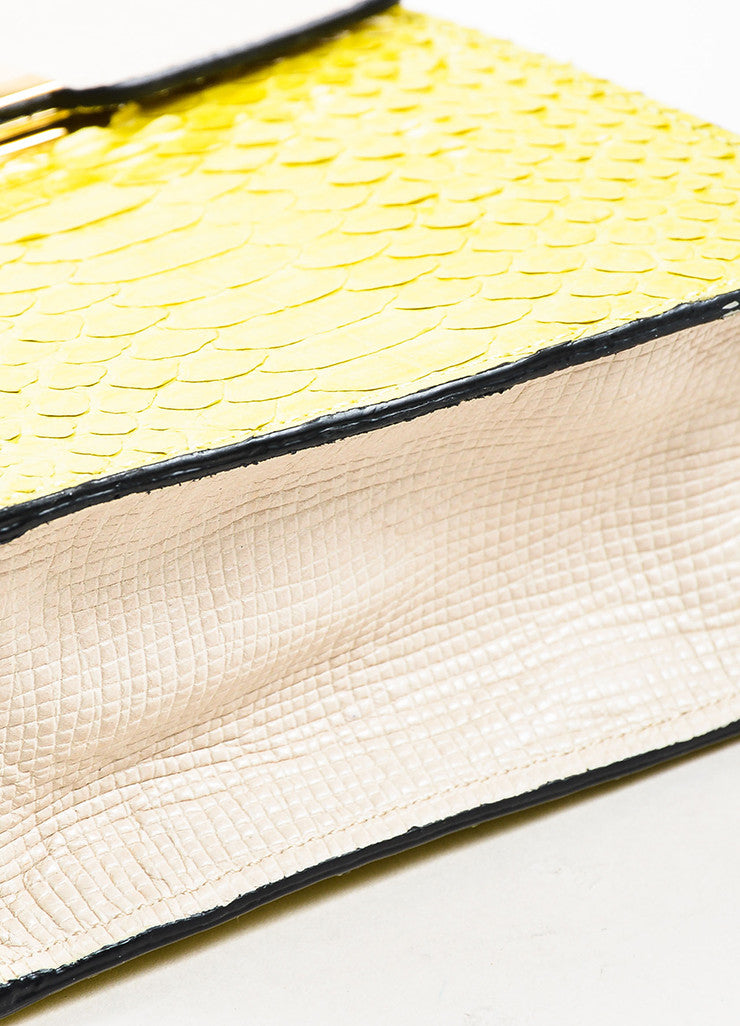 """Chartreuse"" Yellow and Cream Andrew Gn Python Leather Shoulder Bag Bottom View"