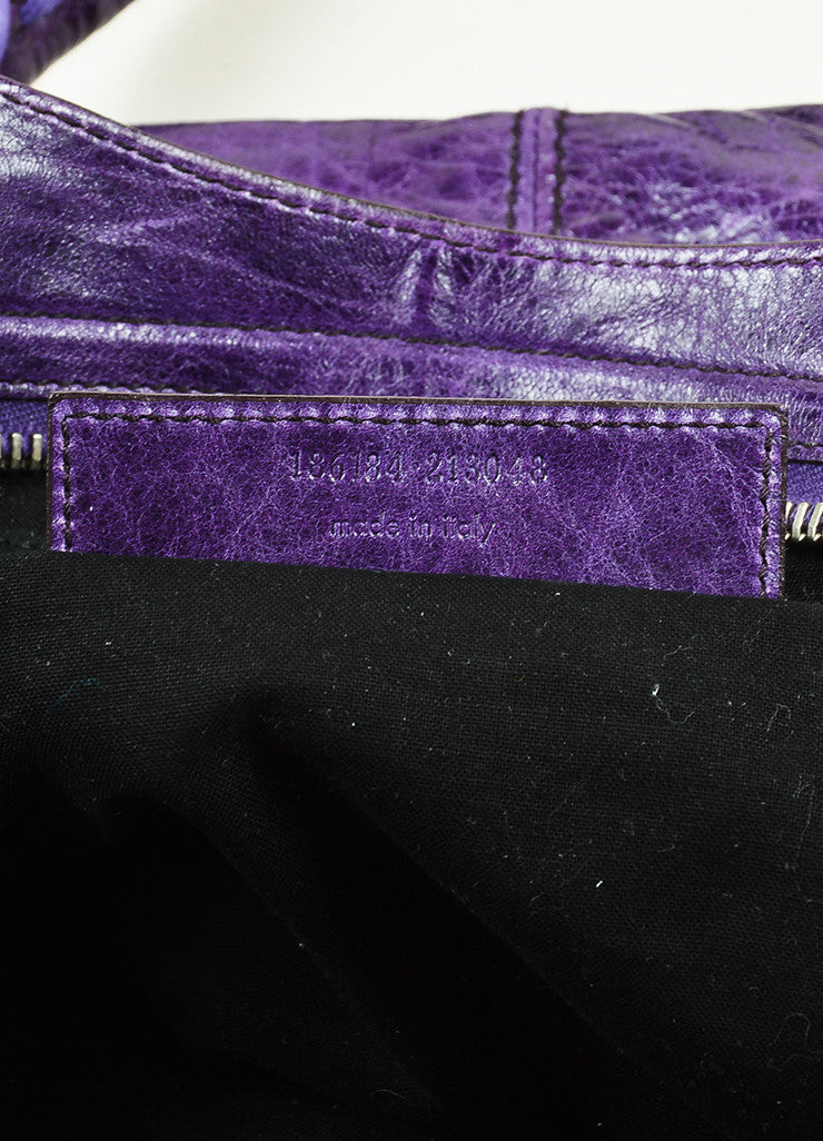 "Balenciaga Purple Wrinkled Distressed Leather Silver Toned Stud ""Giant Step"" Bag Serial"