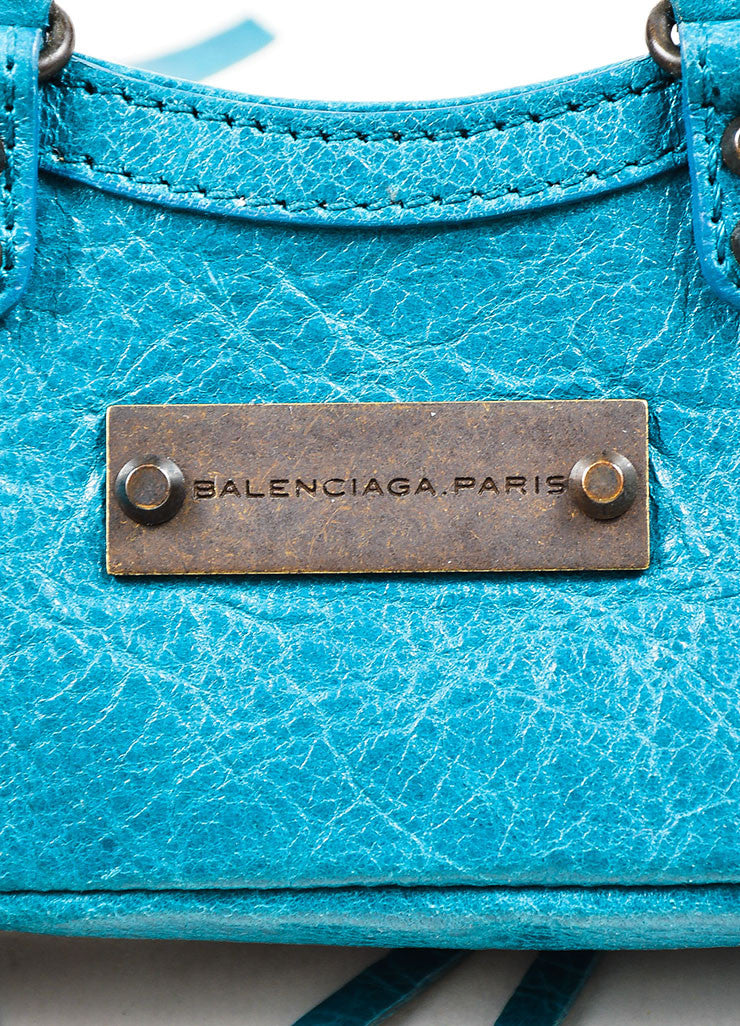 "Balenciaga Teal Blue Leather Studded Classic Mini ""Tiny First"" Bag Key Ring Brand"