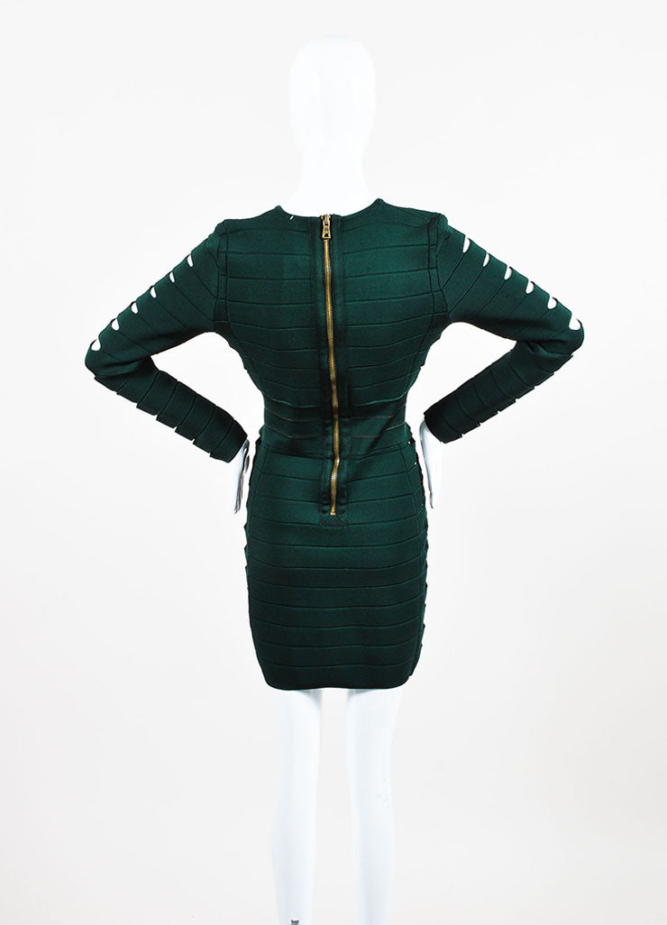 Balmain Forest Green Stretch Knit Side Cut Out Long Sleeve Bandage Dress Backview