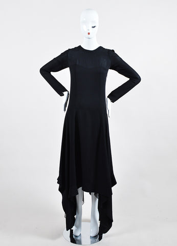 Black Barbara Bui Silk Asymmetric Handkerchief Hem Long Sleeve Dress Frontview