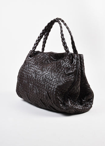Bottega Veneta Brown Leather Woven Braided Handle Slouchy Hobo Shoulder Bag Sideview