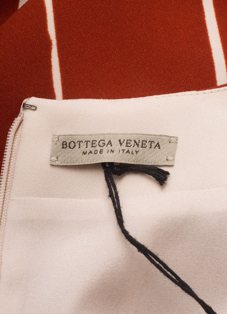 "Bottega Veneta New With Tags Red and Beige ""Faded Lines"" Printed Sleeveless Sheath Dress Brand"