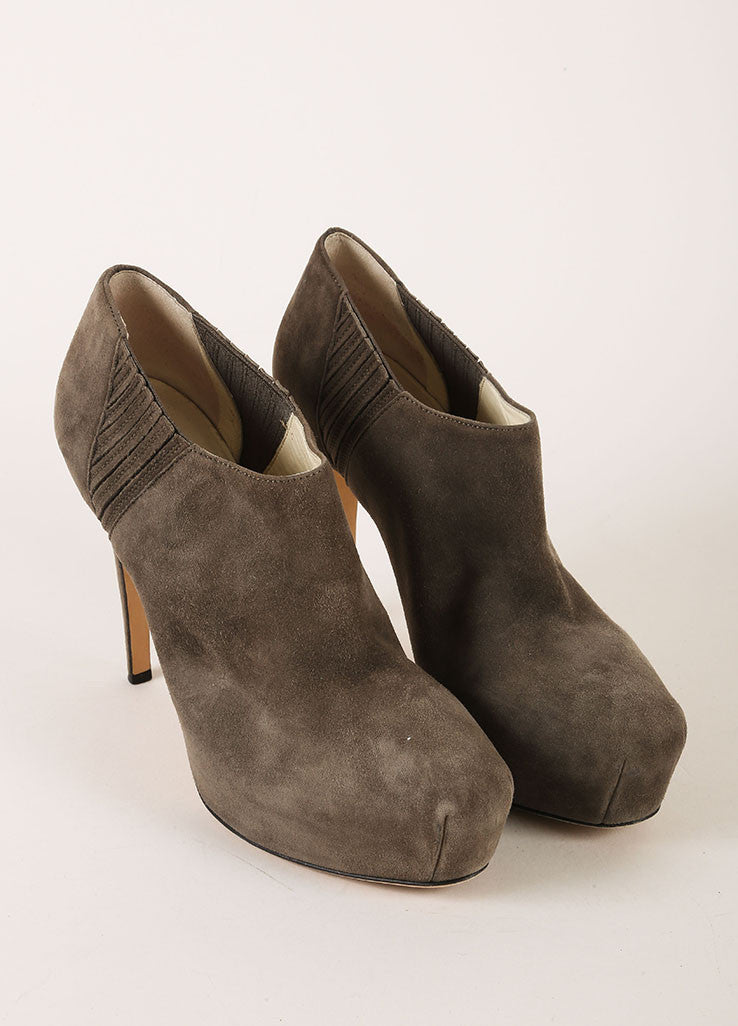 Brian Atwood Grey Suede Leather Hidden Platform Heeled Ankle Booties Frontview