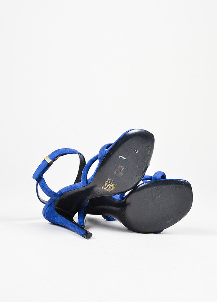 Dark Blue Celine Suede Leather Cross Strap Heeled Sandals Outsoles
