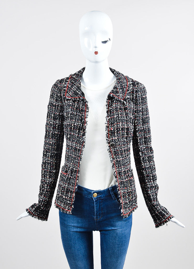 Black, Red, and White Chanel Tweed Fitted Jacket Frontview