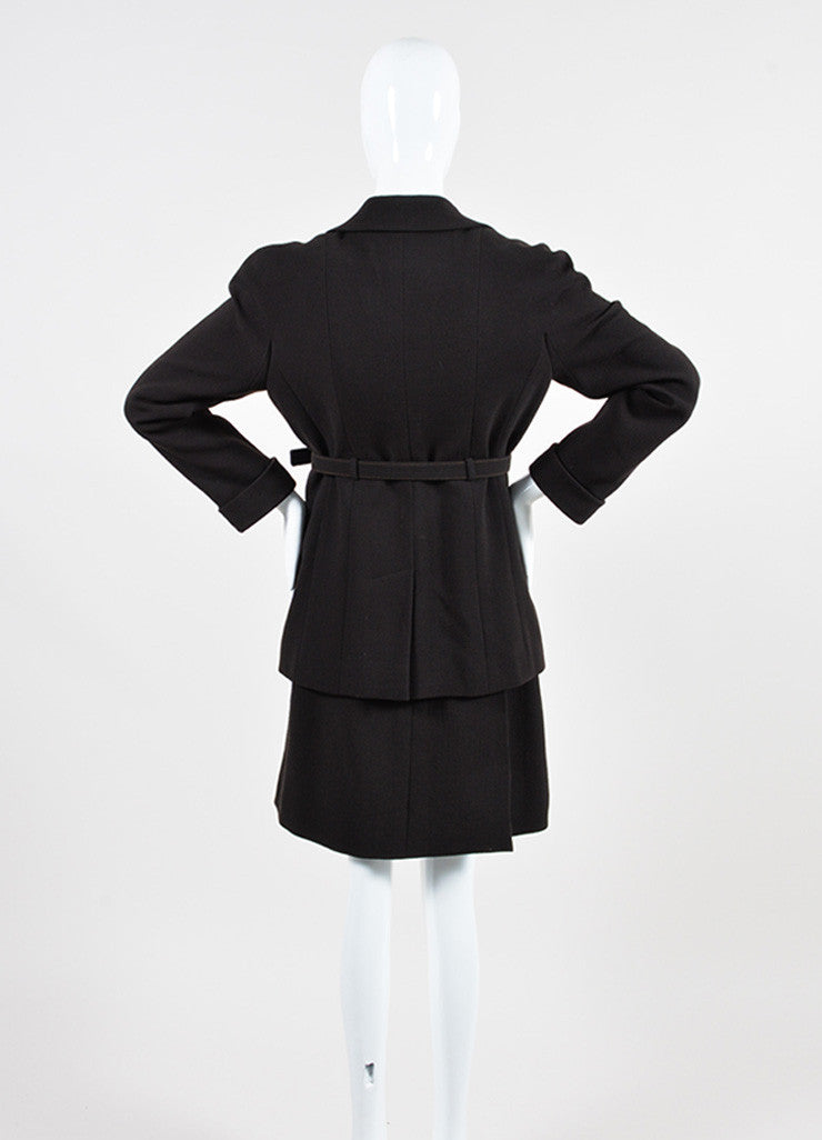 Dark Brown Chanel Wool Belted Jacket and Short Skirt Two Piece Suit Backview