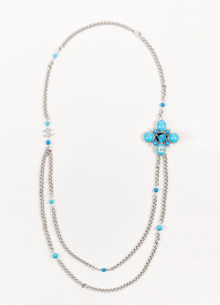 Chanel Silver Toned and Turquoise Resin Crystal Tweed Chain Pendant Necklace Frontview