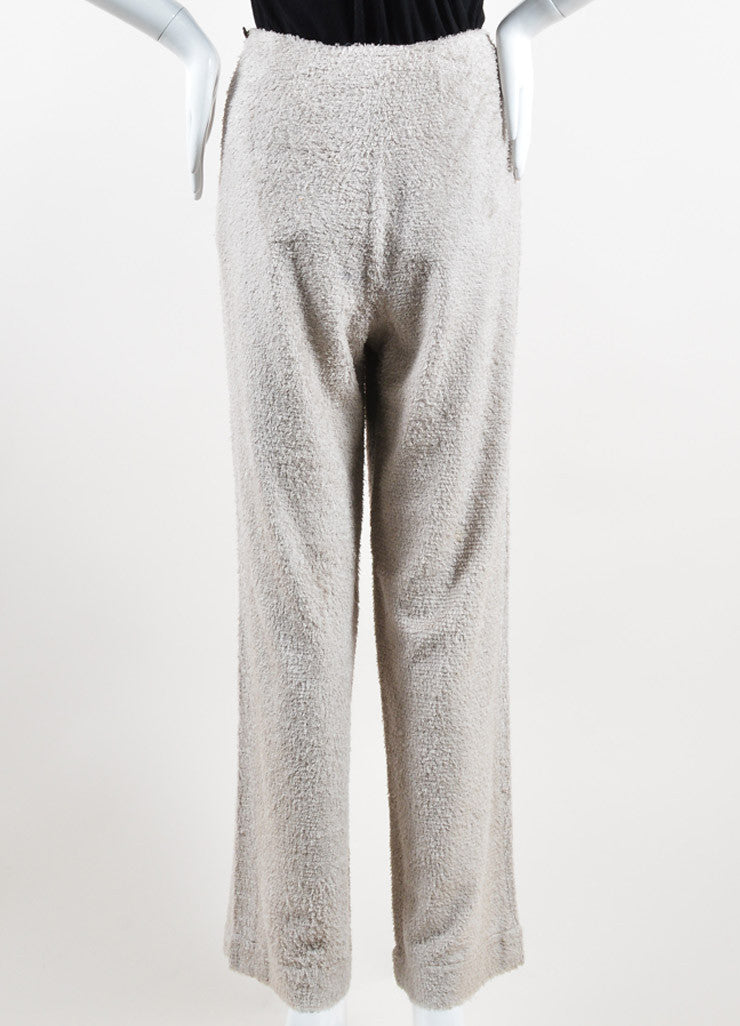 Chanel Taupe Grey Silk Looped Woven Wide Leg High Waisted Pants Backview