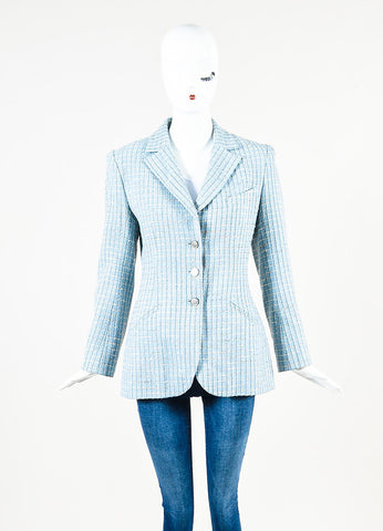 Chanel Light Blue Wool Blend Boucle Tweed Blazer Jacket Frontview 2
