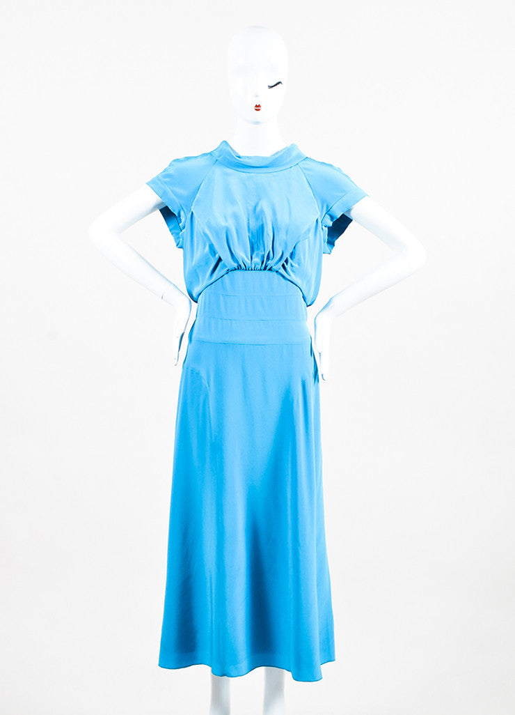 Bright Blue Chanel Silk Short Sleeve 'CC' Button Back Dress Front