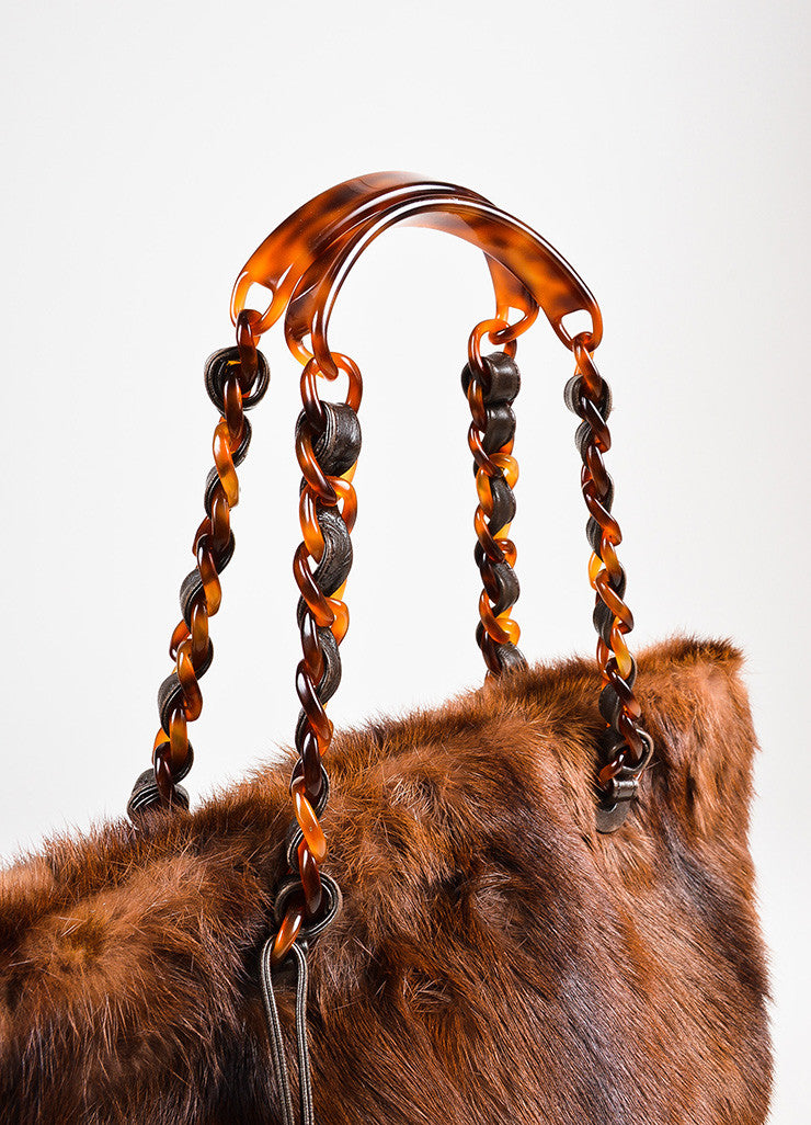 Chanel Brown Beaver Fur Tortoise Shell Chain Handle Tote Bag Detail 2