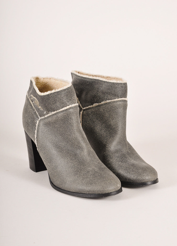 "Chanel Grey and Cream Shearling Lined Crackle ""CC"" Embroidered Ankle Boots Frontview"