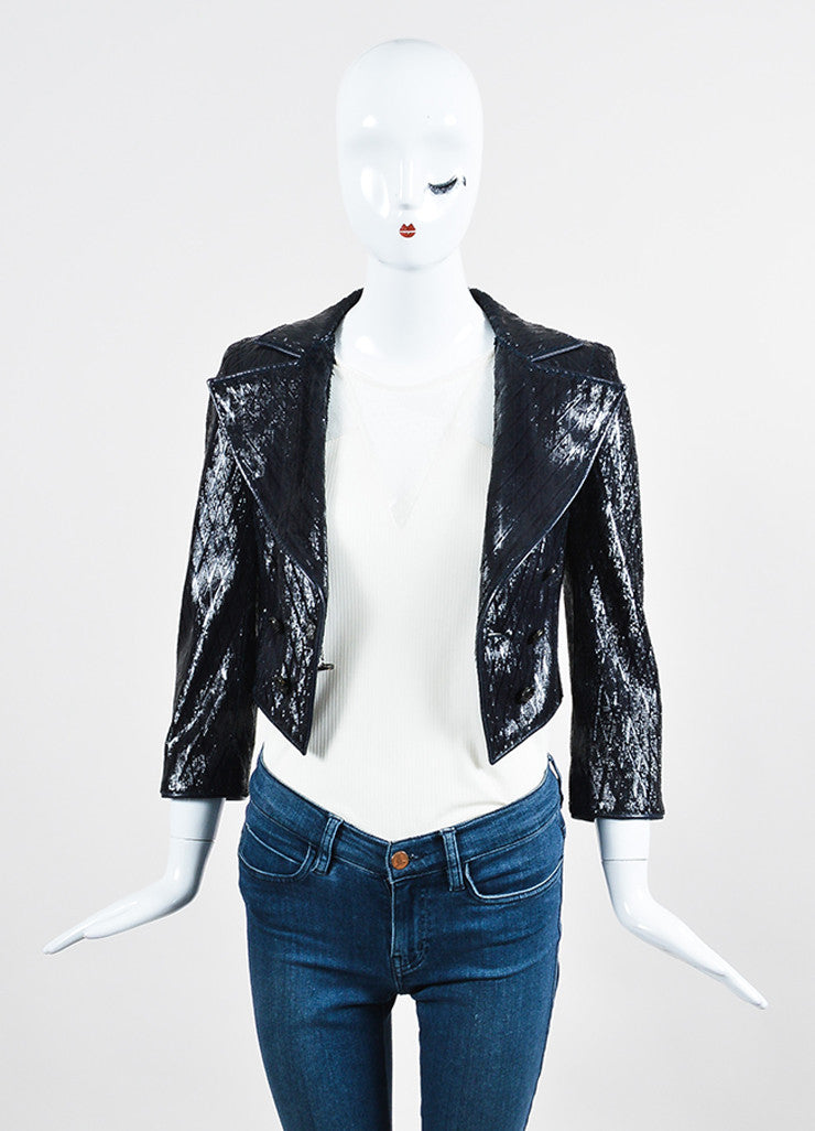 Navy Blue Chanel Patent Leather Feathered Laser Cut Cropped Jacket Frontview