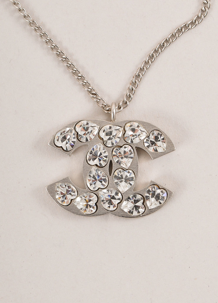"Chanel Silver Toned Heart Rhinestone Embellished ""CC"" Logo Necklace Detail"