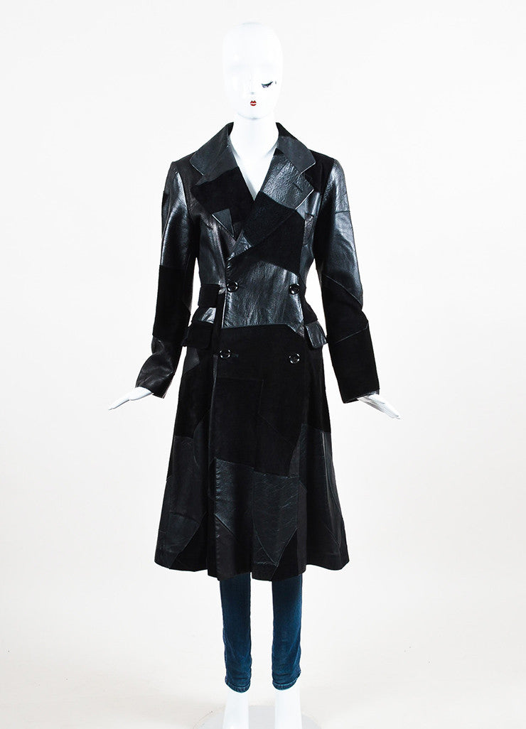 Comme de Garcons Black Leather Suede Patchwork Coat Frontview 2