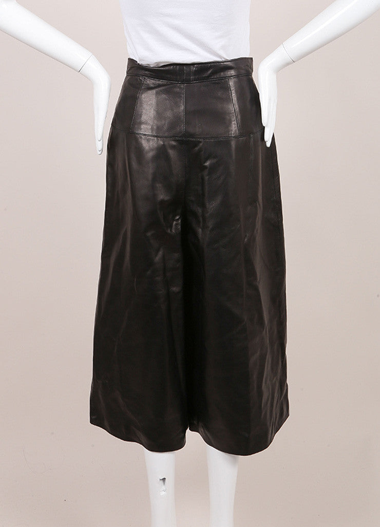 Crippen New With Tags Black Leather Culotte Shorts Backview
